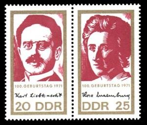 Karl Liebknecht, Rosa Luxemburg auf Briefmarke