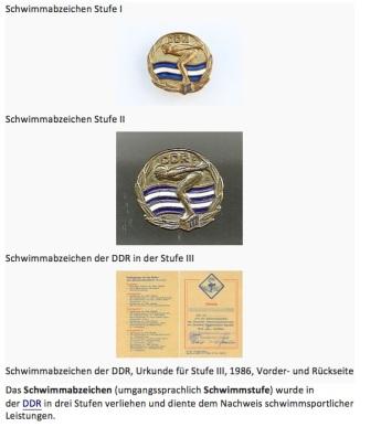 Schwimmabzeichen DDR