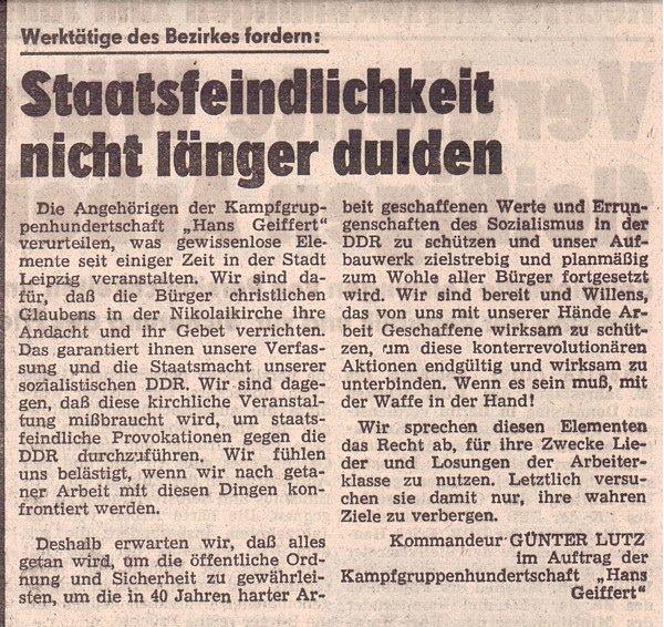 Leiziger Volkszeitung 6. Oktober 1989