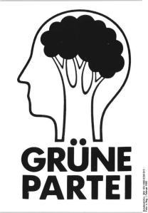 ADN-ZB-Grafik-8.2.1990-Berlin: Signet Grüne Partei/ Zum Hauptziel ihrer Programmatik hat die Partei die Ökologie gewählt. Die am 24. November gegründete Partei tritt dafür ein, daß quantitatives durch qualitatives Wirtschaftswachstum ersetzt wird.
