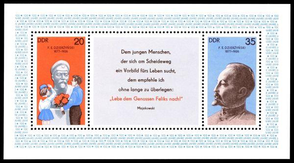 Briefmarkenblock der DDR (1977) zum 100. Geburtstag
