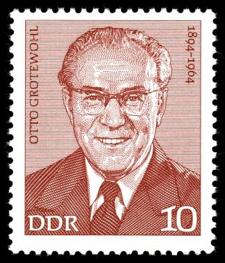 Otto Grotewohl auf einer Briefmarke der DDR 1974