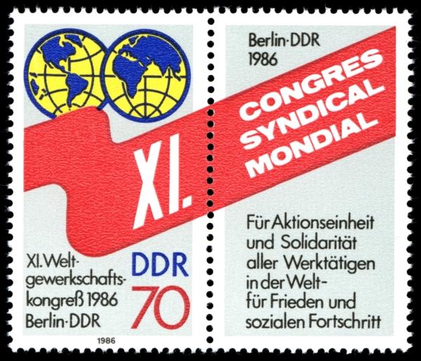 Briefmarke zum Weltgewerkschaftskogress 1986 in Berlin:DDR