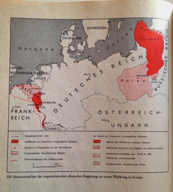 Annexionsziele in Europa 1. Weltkrieg Deutschland