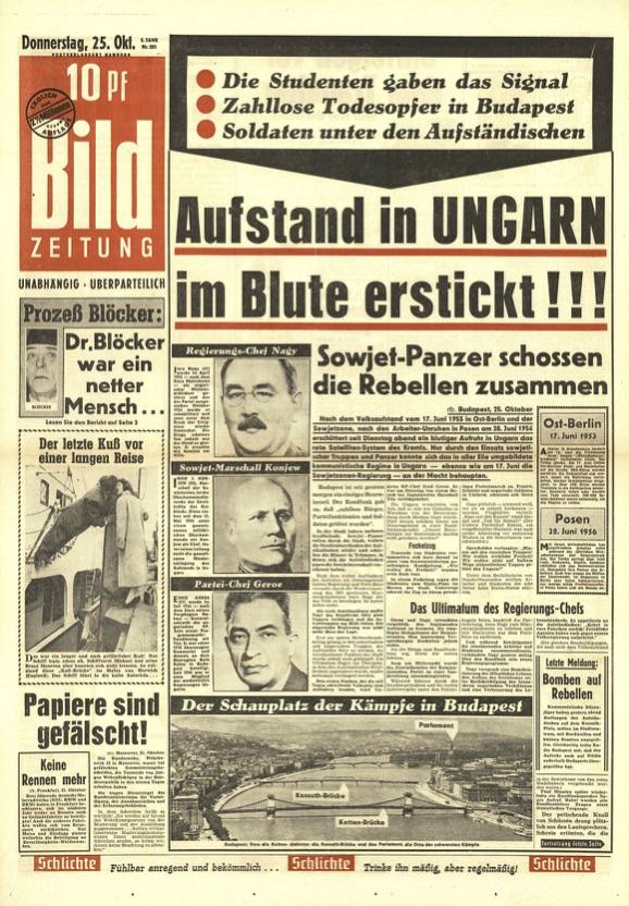 historisches Titelblatt Ungarn 1956