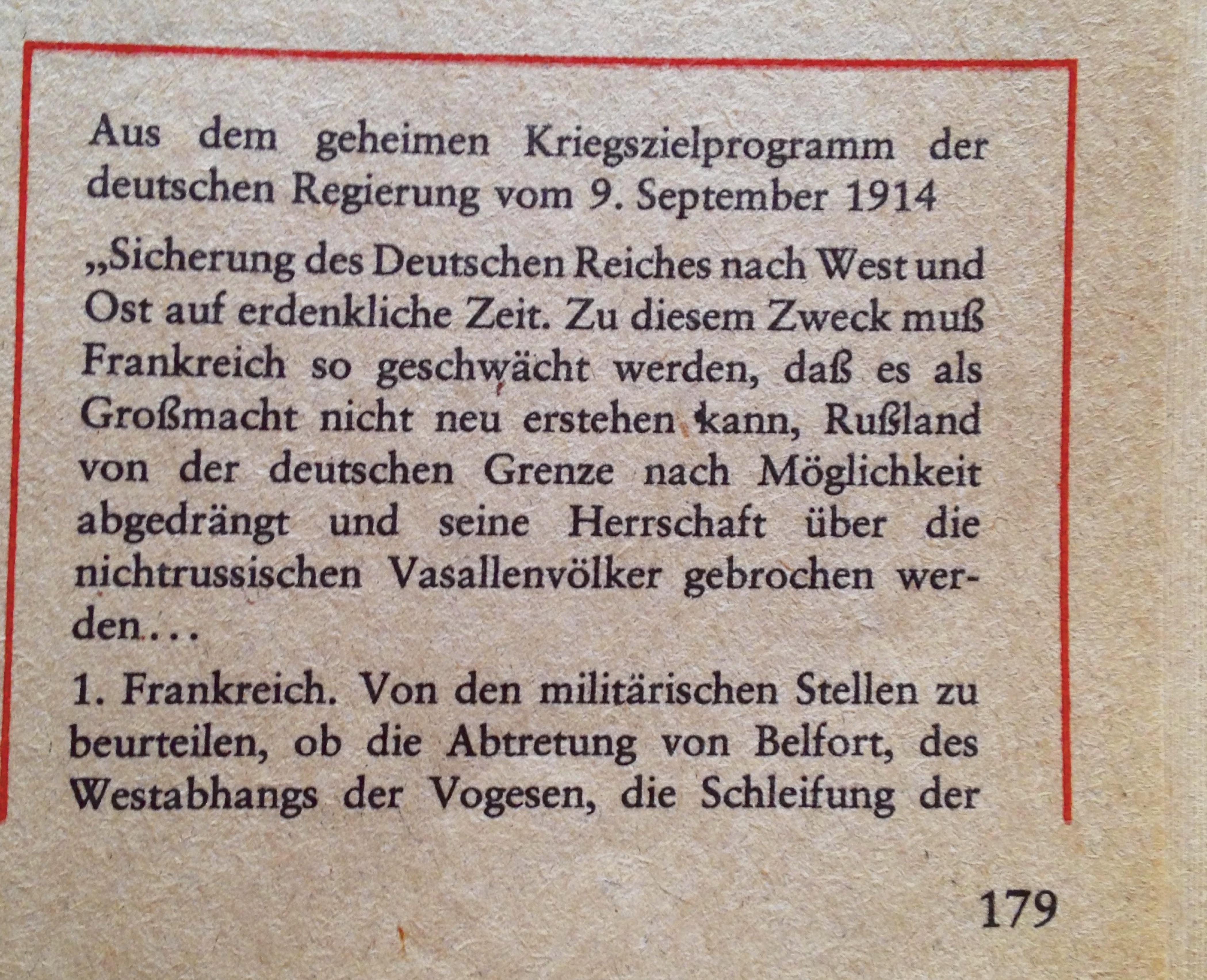 Kriegsziele 1. Weltkrieg Deutschland Teil 1