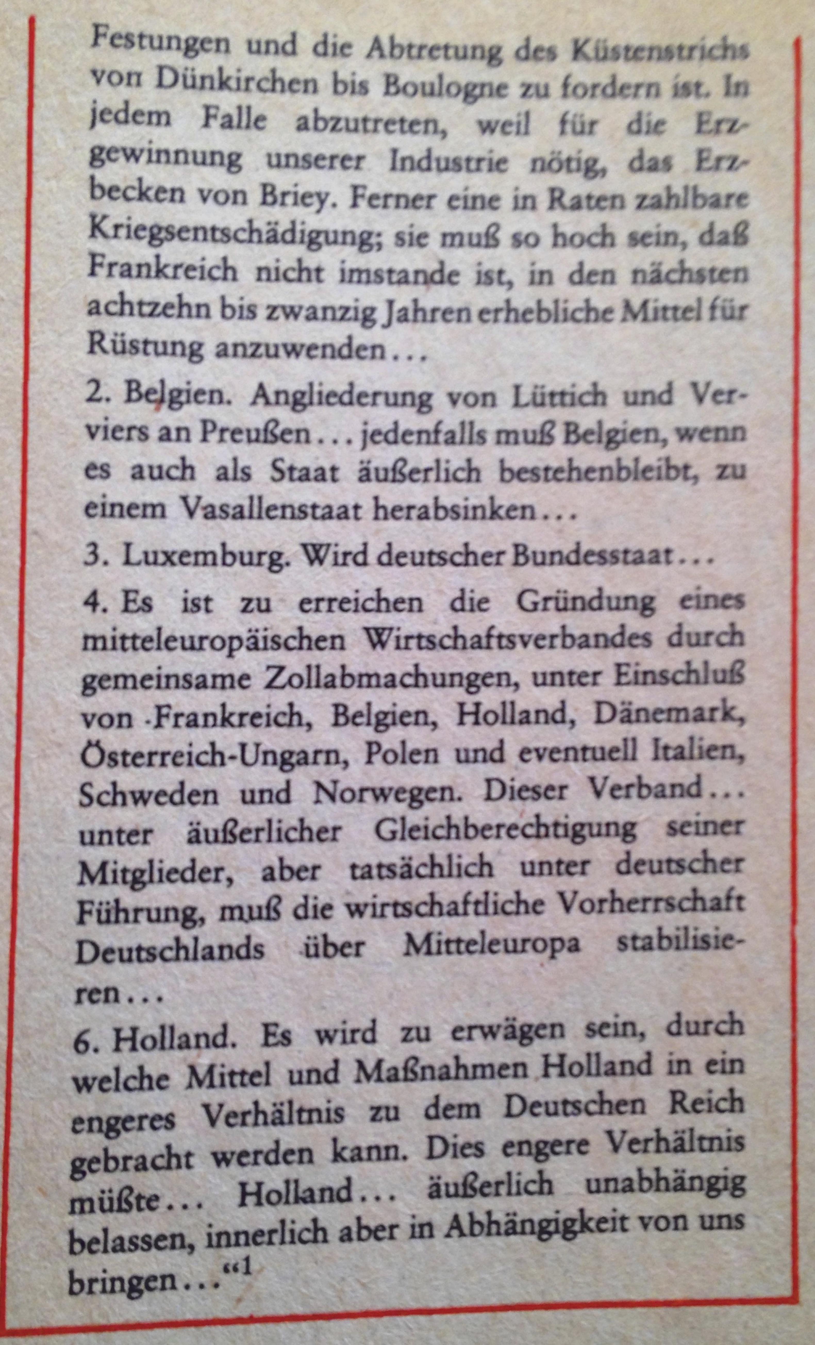 Kriegsziele 1. Weltkrieg Deutschland Teil 2