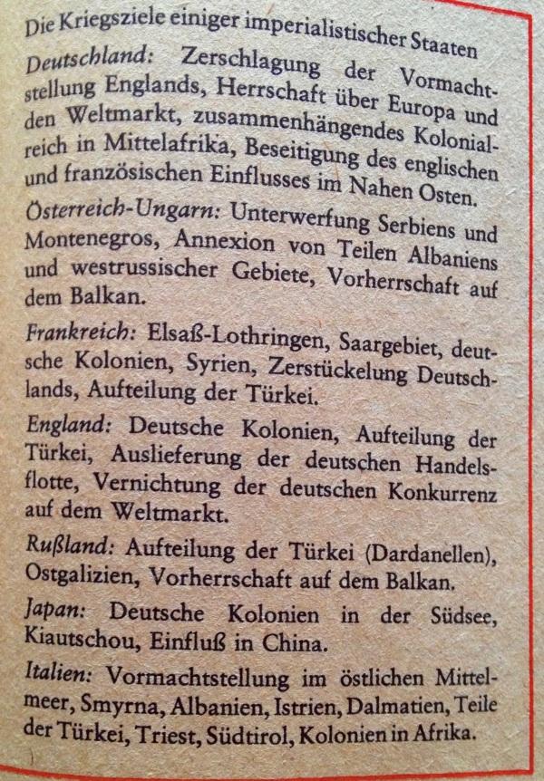 Kriegsziele erster Weltkrieg