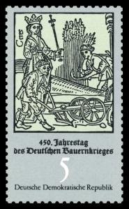Bauern bei der Fronarbeit, Briefmarke DDR 1975