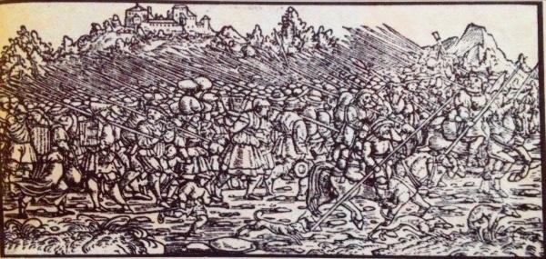 Bauernheer auf dem Marsch, Holzschnitt
