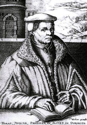 Älteste, allerdings nachträgliche und nicht verbürgte Darstellung Thomas Müntzers aus dem Jahr 1608;[1] Kupferstich von Christoph van Sichem