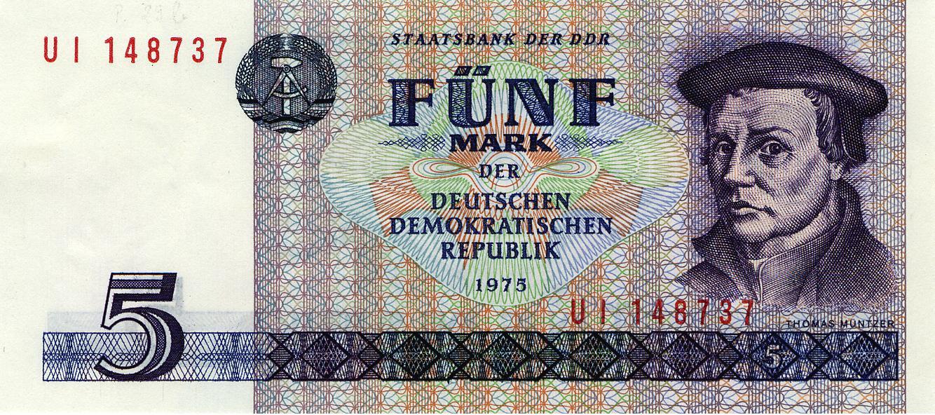 DDR-Banknote 5 Mark mit Müntzer in der Ausgabe von 1975 bis 1990