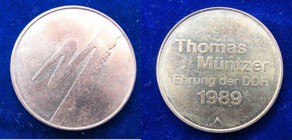 DDR-Medaille Thomas Müntzer 1989, kurz vor Ende der DDR