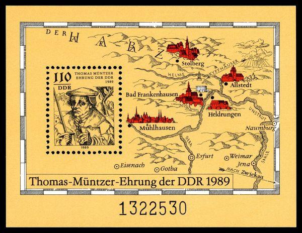 Wichtige Wirkungsstätten Thomas Müntzers; Briefmarkenblock der DDR zum 500. Geburtstag (1989)