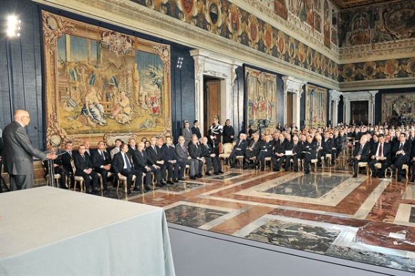 Der Präsident der Republik Giorgio Napolitano spricht anlässlich der Ordensvergabe 2010.