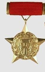 Ehrenzeichen Held der Arbeit der Deutschen Demokratischen Republik, hier das Ehrenzeichen als goldener Stern mit Bandschnalle