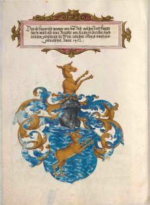 Wappen der Linie Fugger vom Reh im Ehrenbuch der Fugger, 1545