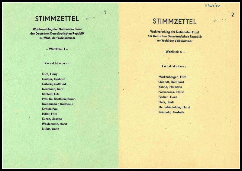 Wahlzettel DDR