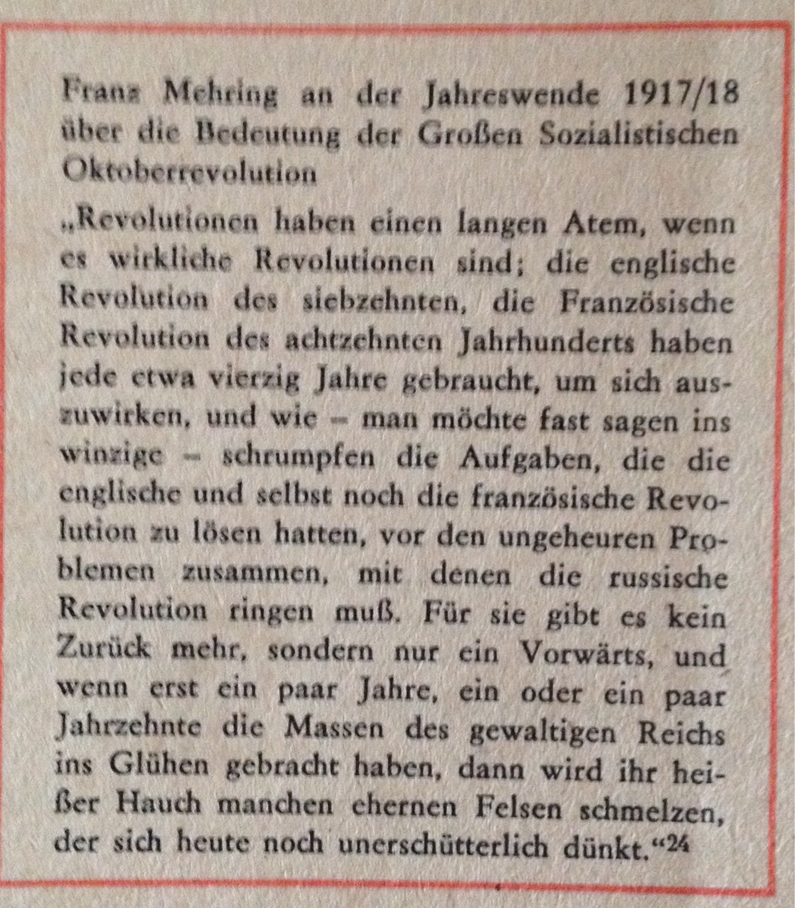 Franz Mehring zu Revolution
