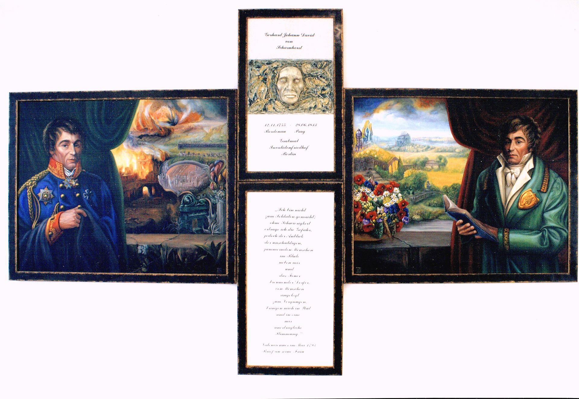 Weitere Einzelheiten Triptychon zu Ehren des Generals Gerhard Johann David von Scharnhorst