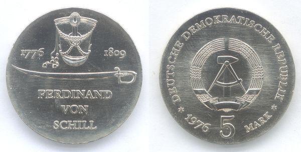5-Mark-Gedenkmünze der DDR zum 200. Geburtstag von Ferdinand von Schill aus dem Jahr 1976