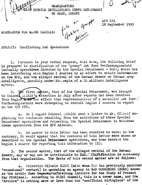 """Bericht über das im Auftrag der US-Army arbeitende """"Amt für Verfassungsschutz"""" vom September 1950"""