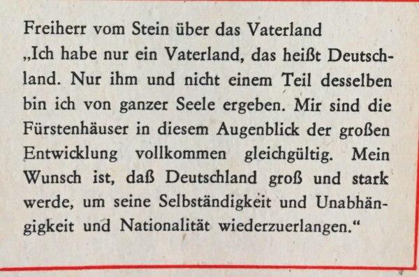 Freiherr vom Stein über das Vaterland