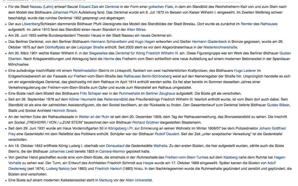 Freiherr vom Stein Denkmäler