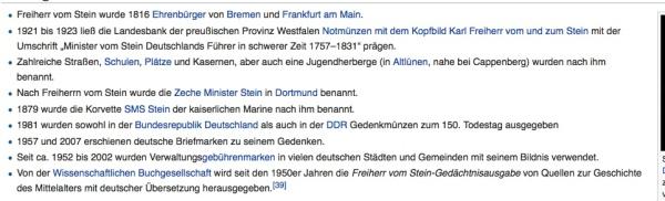 Freiherr vom Stein - Ehrungen