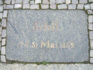 Gedenkstein an der Stelle, an der Schill fiel