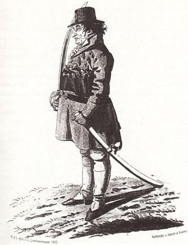 Johann G. Fichte als Freiwilliger im Kampf gegen Napoleon Zeitgenössische Karikatur