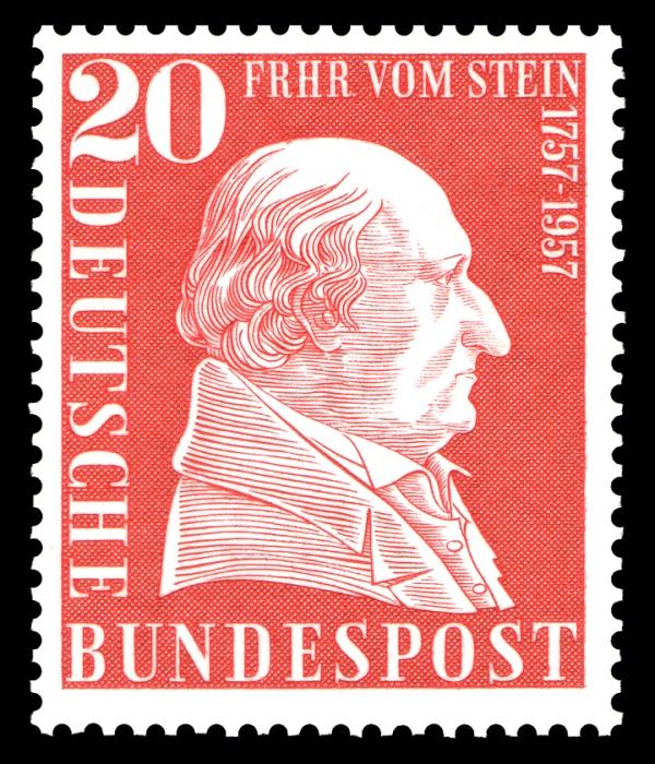 Weitere Einzelheiten Sonderbriefmarke der Deutschen Bundespost 1957 zum 200. Geburtstag Freiherr vom und zum Stein