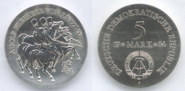 5 Mark Gedenkmünze der DDR zum 150. Todestag Lützows aus dem Jahr 1984
