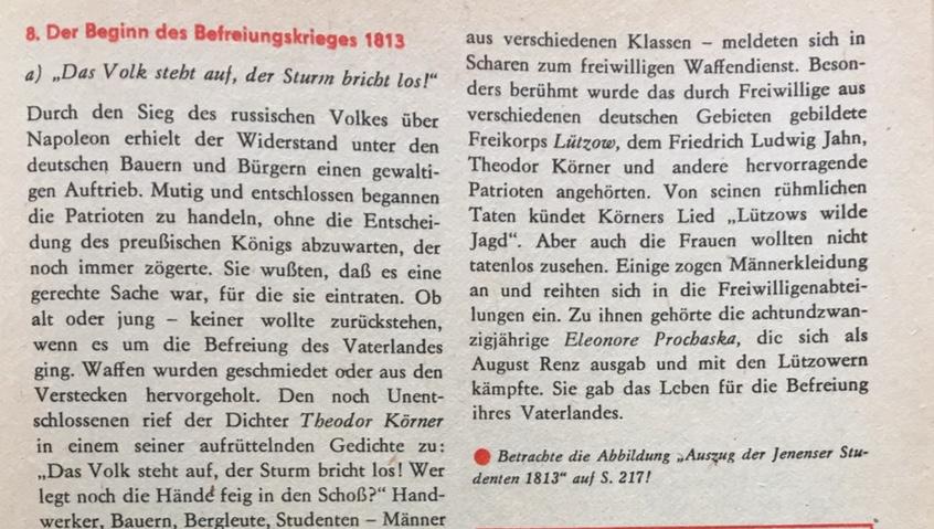Ausschnitt Geschichtsbuch der DDR Theodor Körner Kopie