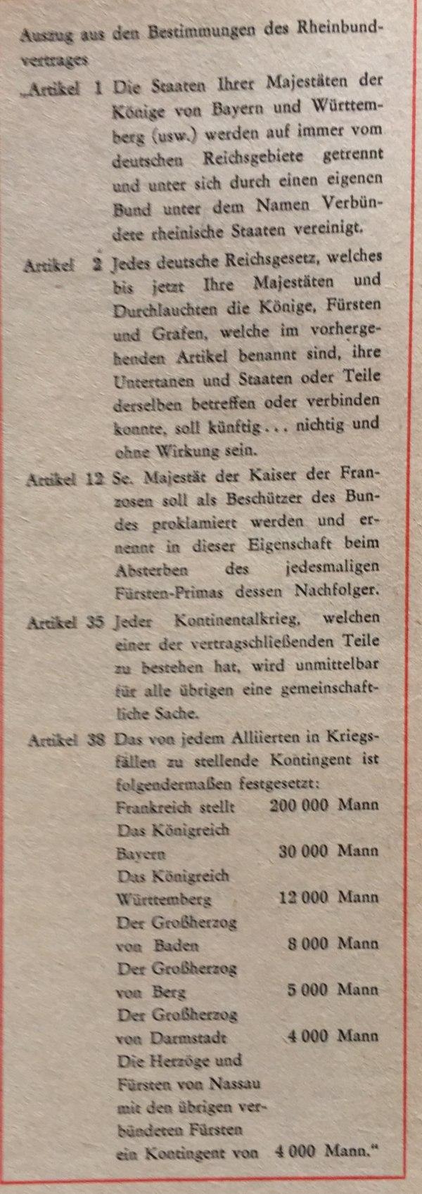 Auszüge aus Rheinbundvertrag