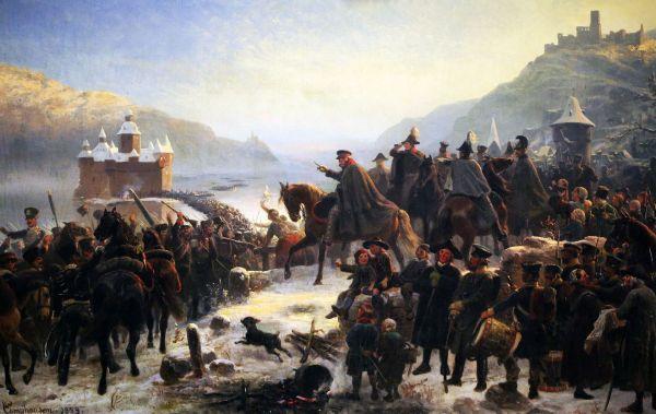 Blüchers Rheinübergang bei Kaub. Historiengemälde von Wilhelm Camphausen
