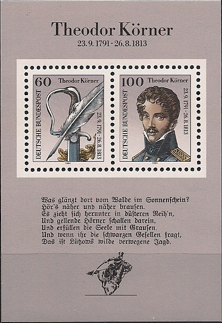 Erste Strophe von Lützows wilde, verwegene Jagd auf einem Gedenkblock der Deutschen Bundespost zum 200. Geburtstag