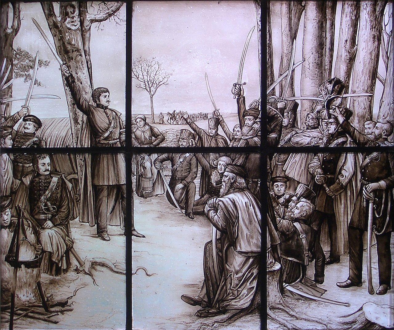 """Theodor Körner, im Lager bei Gadebusch, seinen Kameraden sein """"Schwertlied"""" vortragend (Glasfenster nach einem Gemälde von Rudolf Eichstaedt im Haus einer Göttinger Studentenverbi"""