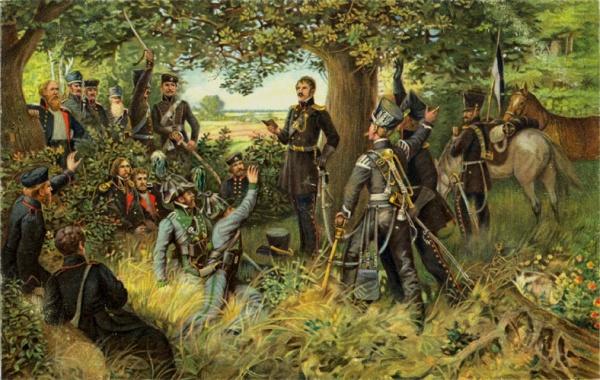 Theodor Körner liest den Lützower Jägern seine Kriegslieder vor