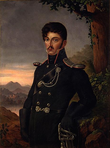 Theodor Körner, porträtiert von seiner Tante Dora Stock (nach einer Pastellminiatur von seiner Schwester Emma Sophie Körner), 1813:1814