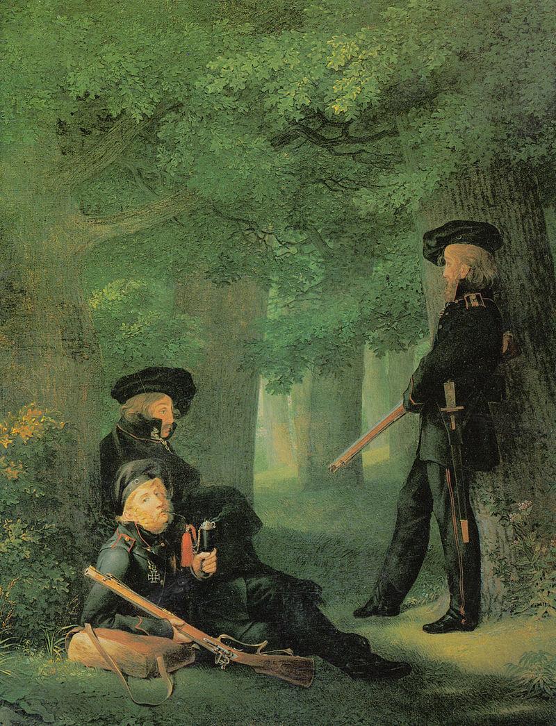 Weitere Einzelheiten Friesen, Körner (sitzend, Mitte) und Heinrich Hartmann auf Vorposten (Gemälde von Georg Friedrich Kersting, 1815)