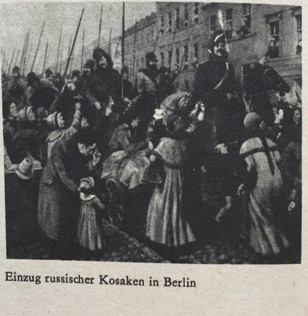 Einzug russischer Kosaken in Berlin