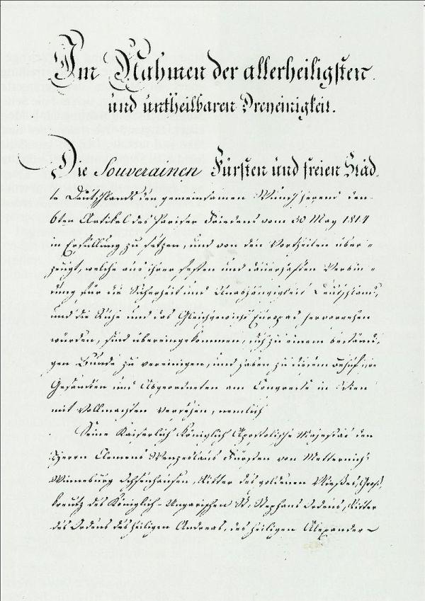 Erste Seite der Bundesakte