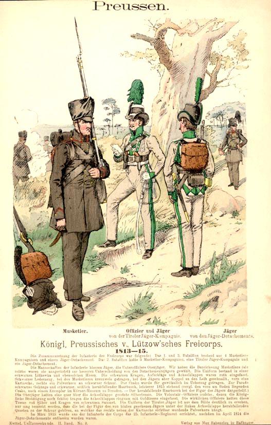 Infanterieuniformen des Lützowschen Freikorps (Farbtafel von Richard Knötel)