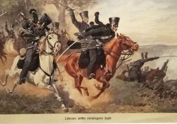 Lützower Kavallerie im Gefecht (Im Vordergrund zwei Husaren, dahinter Jäger zu Pferde)
