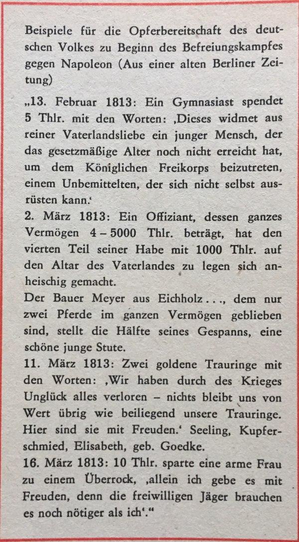 Opferbereitschaft Des deutschen Volkes