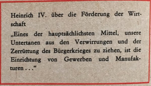 Heinrich IV zu Wirtschaftsförderung