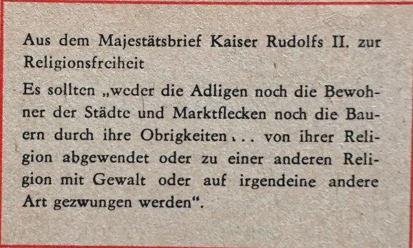 Majestätsbrief Kaiser Rudolf II Religionsfreiheit