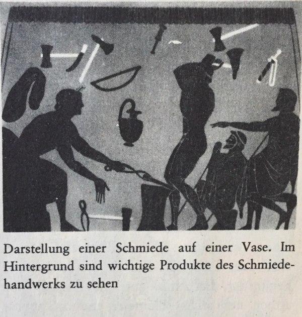 Darstellung Schmiede auf Vase