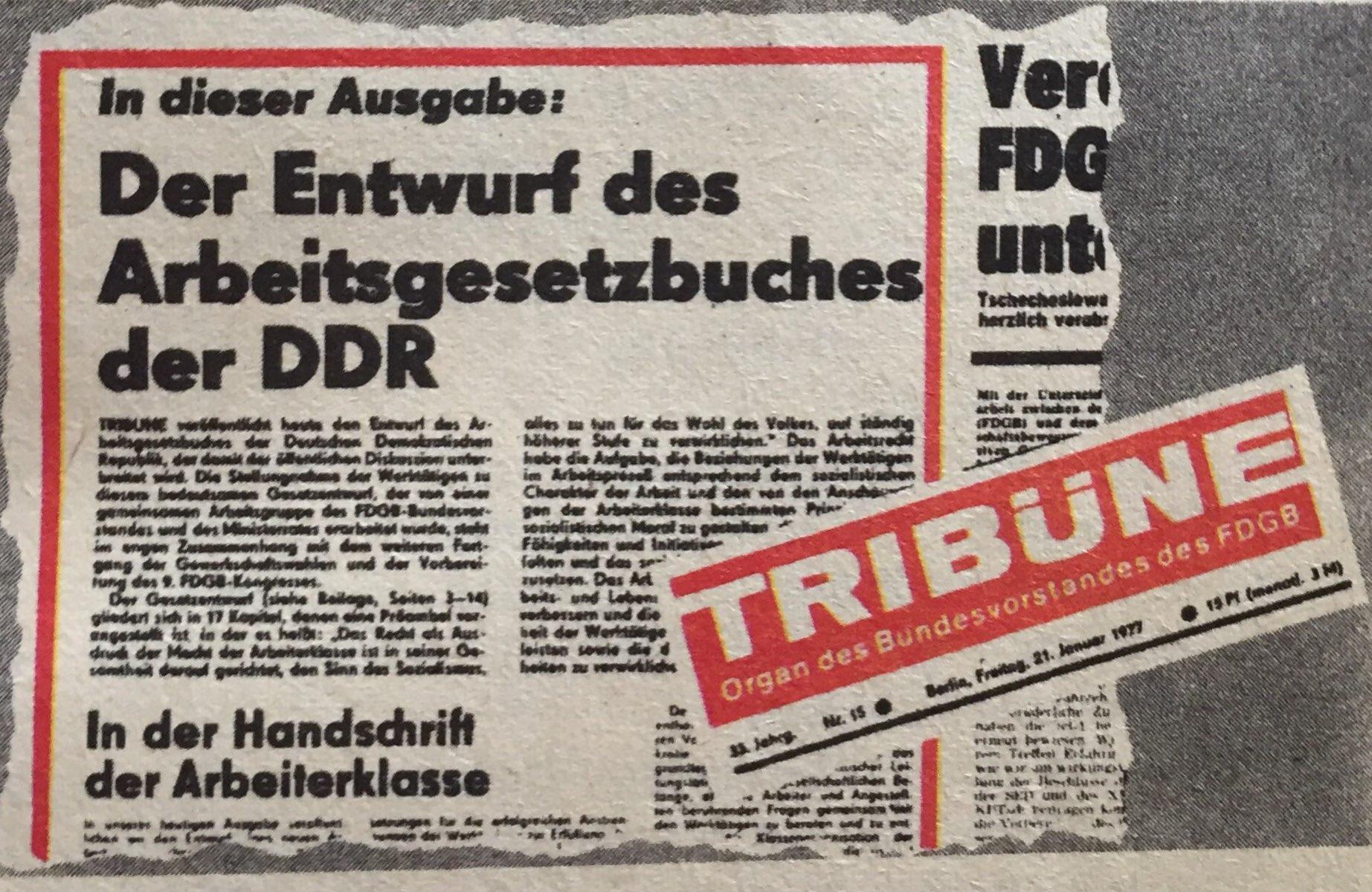 Meldung Entwurf AGB DDR